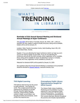 OLA eNewsletter (Toronto, ON: Ontario Library Association), 16 Jan 2020