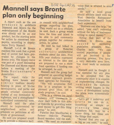 Mannell says Bronte plan only beginning