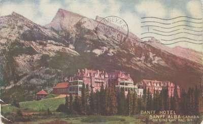 Banff Hotel, Banff, Alba [sic], Canada, on line Can. Pac. Ry.