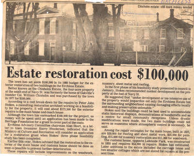 Estate restoration cost $100,000