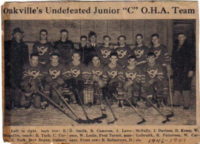 "OAKVILLE JUNIOR ""C"" O.H.A. TEAM 1946 - 1947"