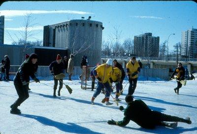Broom Hockey at Centennial Square