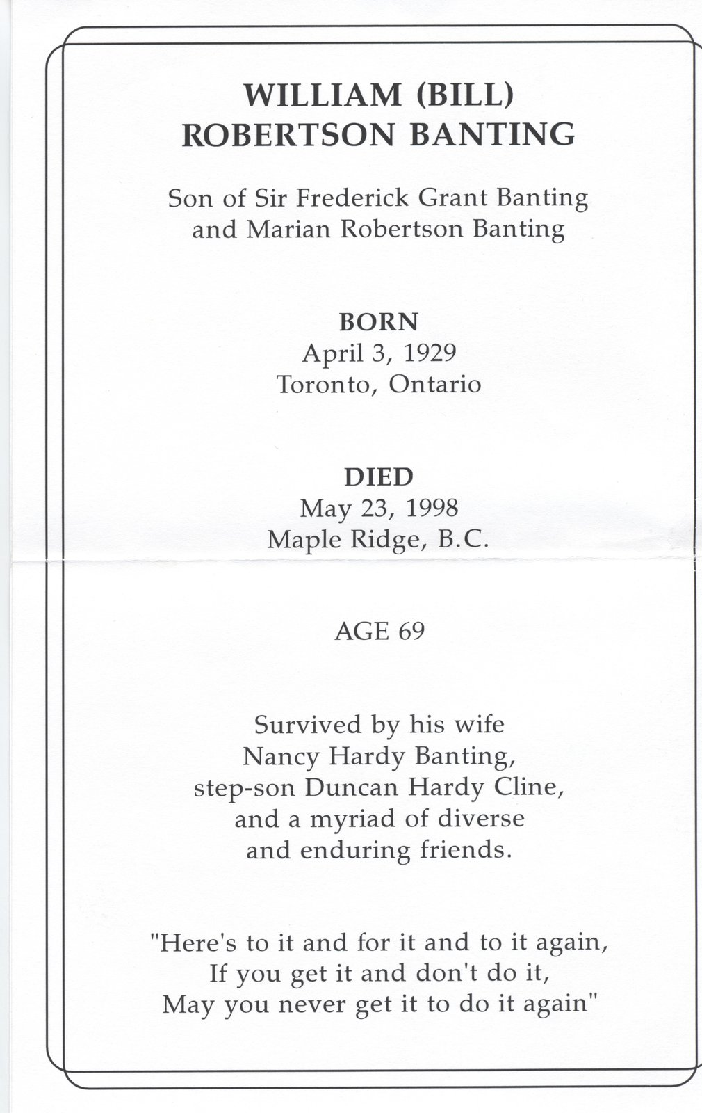 "William ""Bill"" Banting's Funeral Notice"