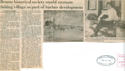 Bronte historical society would recreate fishing village as part of harbor development