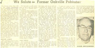 We salute - Former Oakville Publisher