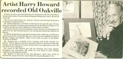 Artist Harry Howard recorded Old Oakville