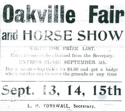 Oakville Fair & Horse Show ad