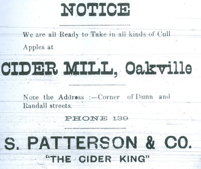 Patterson's Cider Mill advertisement