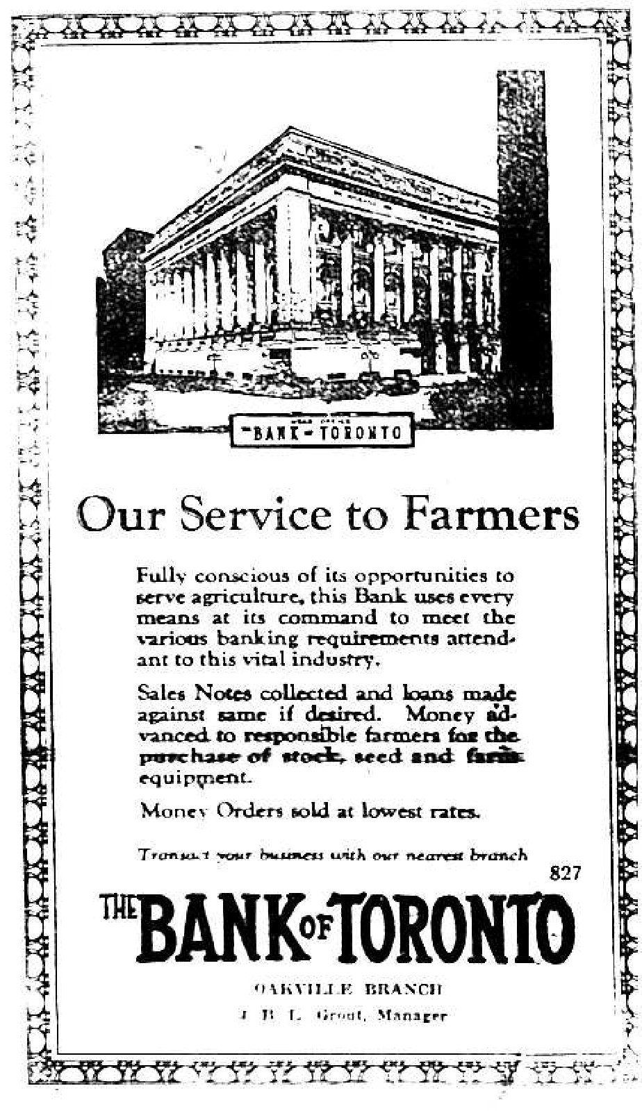 The Bank of Toronto Advertisement (1928)