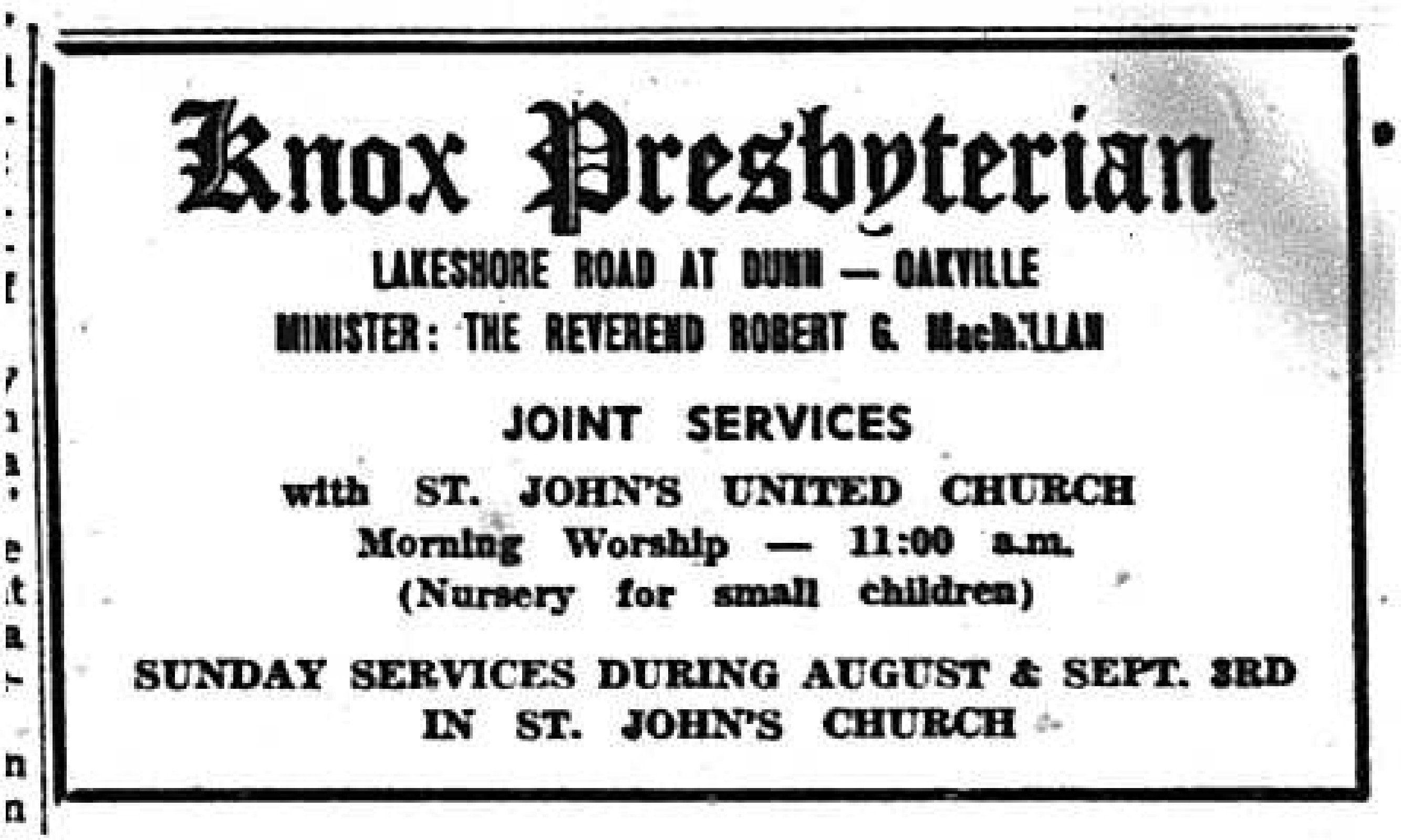Knox Presbyterian Church Advertisement, 1967
