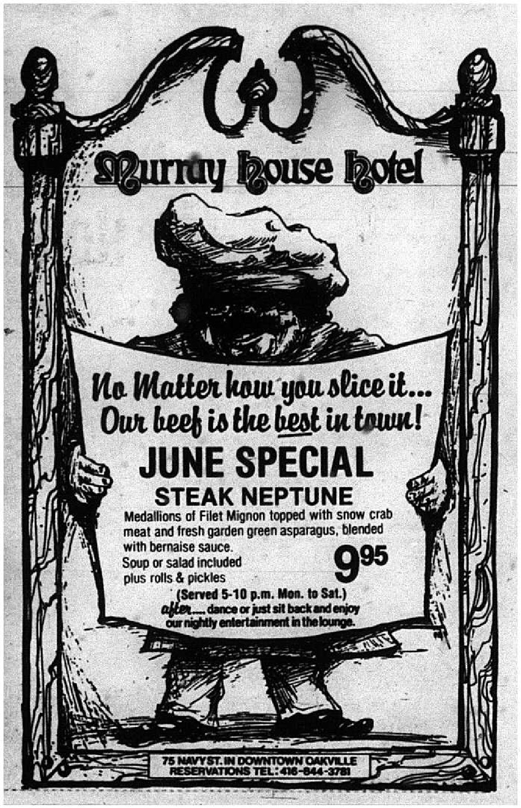 Murray House Hotel Advertisement, 1983