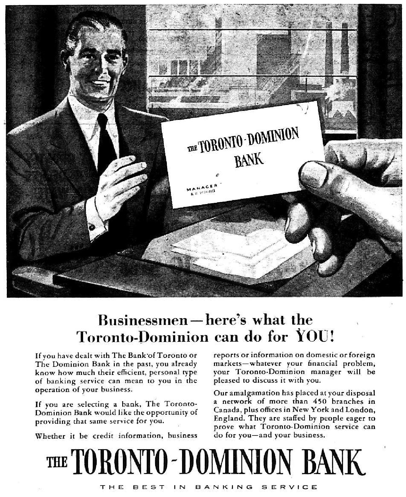 The Toronto-Dominion Bank Advertisement, 1955