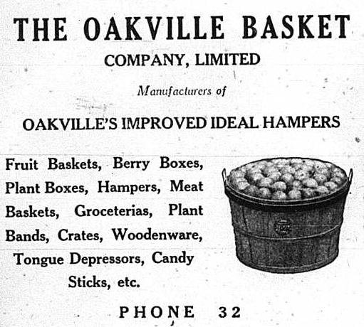 Oakville Basket Factory Advertisement, 1926