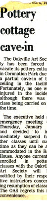 Newspaper clipping: Cottage roof caves in.