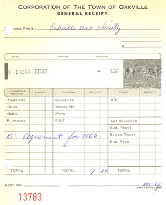 Corporation of the Town of Oakville 'General Receipt'