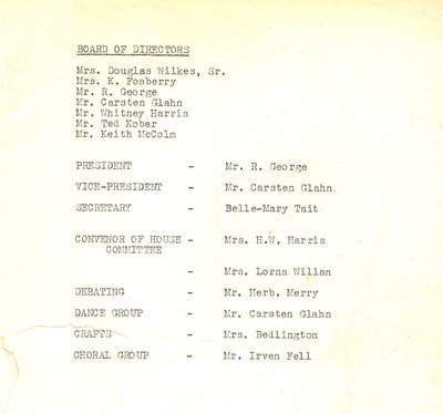 Oakville Arts & Crafts Inc. Board Members for the year 1950