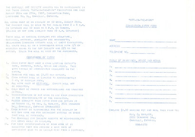 1967 'Art in the Park' entry form