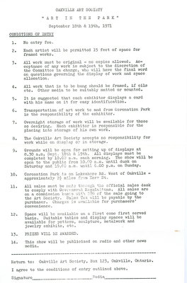 1971 entry form for Art in the Park