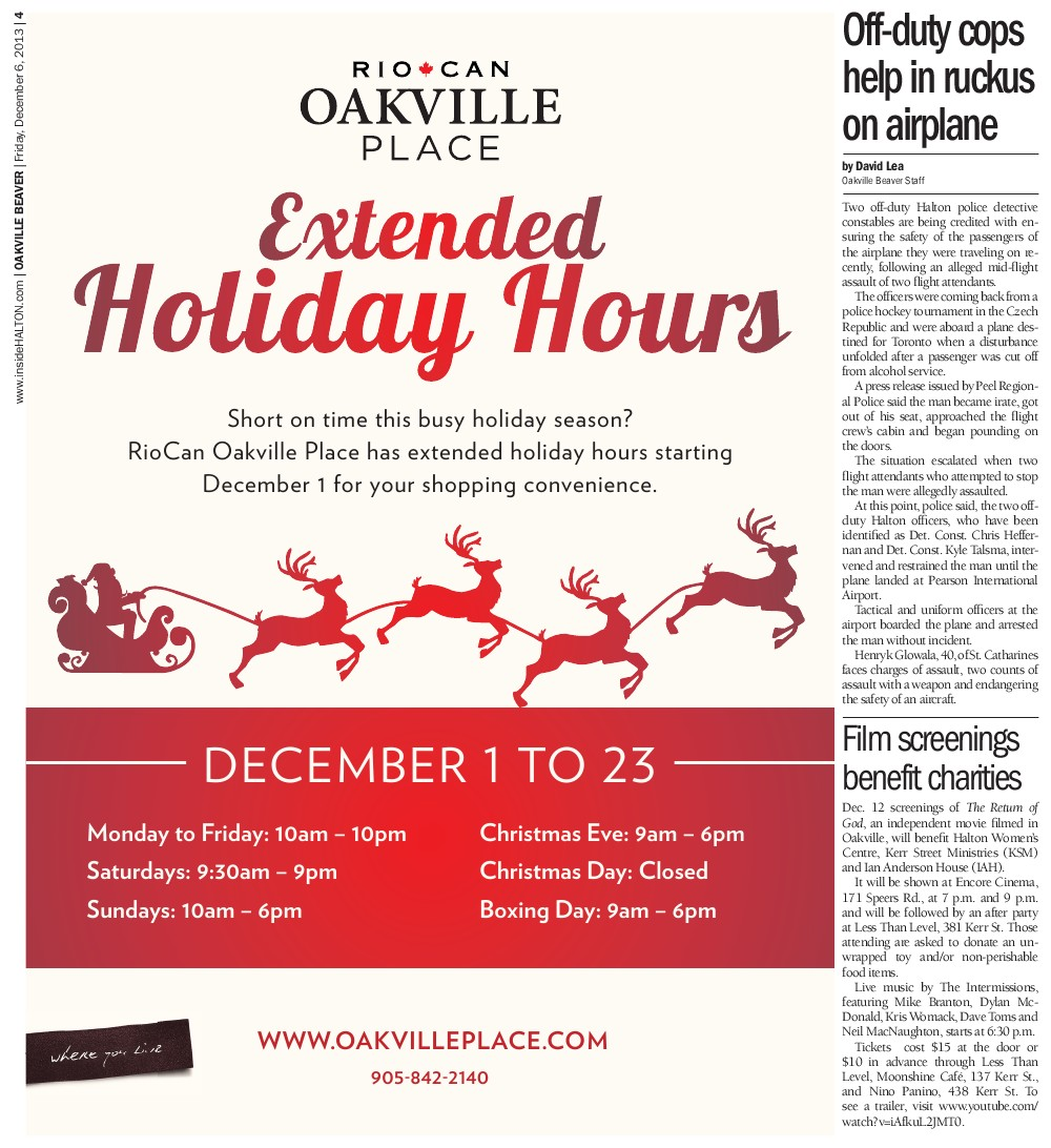 Oakville Beaver, 6 Dec 2013