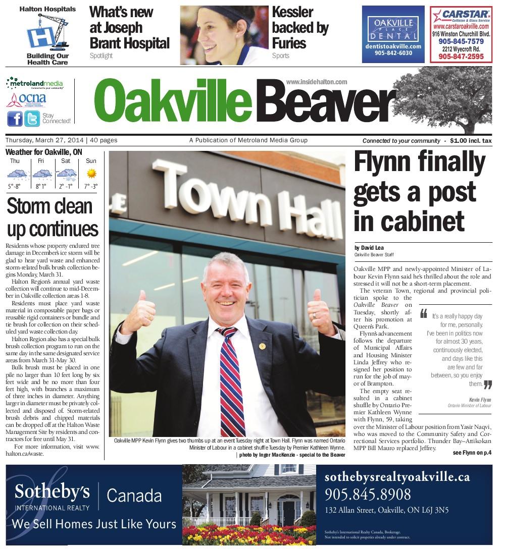 Oakville Beaver, 27 Mar 2014