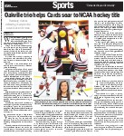 Oakville trio helps Cards soar to NCAA hockey title: Plattsburg crushes defending champion 9-2 to win Division III crown