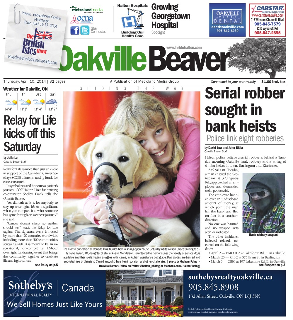Oakville Beaver, 10 Apr 2014