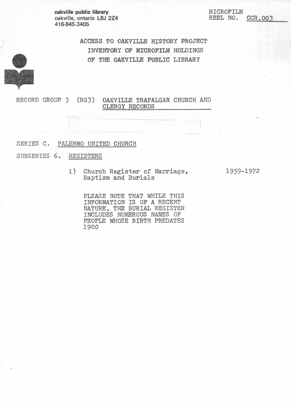 Microfilm Collection Index - Palermo United Church, Walton Memorial United Church