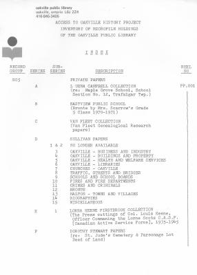 Microfilm Collection Index - Luena Campbell Collection, Eastview Public School, Van Fleet Collection, Sullivan Papers