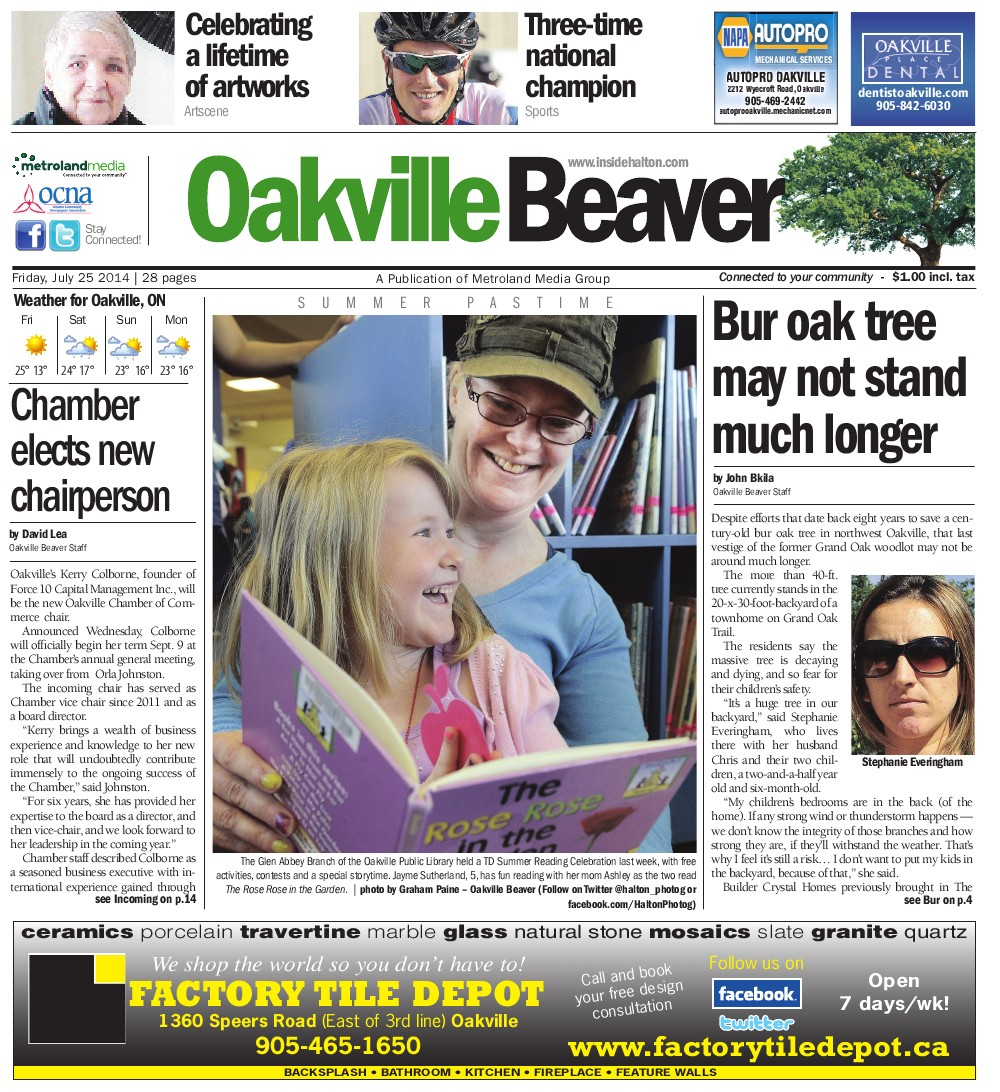 Oakville Beaver, 25 Jul 2014