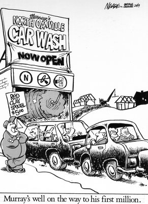 Steve Nease Editorial Cartoons: North Oakville Car Wash (Red Clay Special)