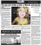 Five-year-old stroke survivor a Miracle ambassador