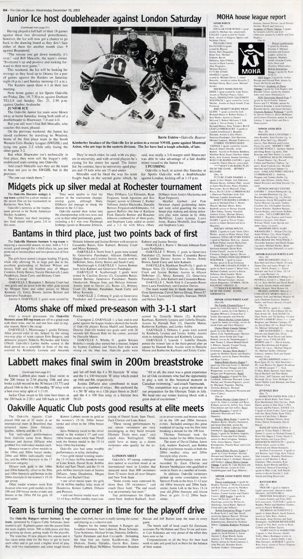 Oakville Beaver, 10 Dec 2003