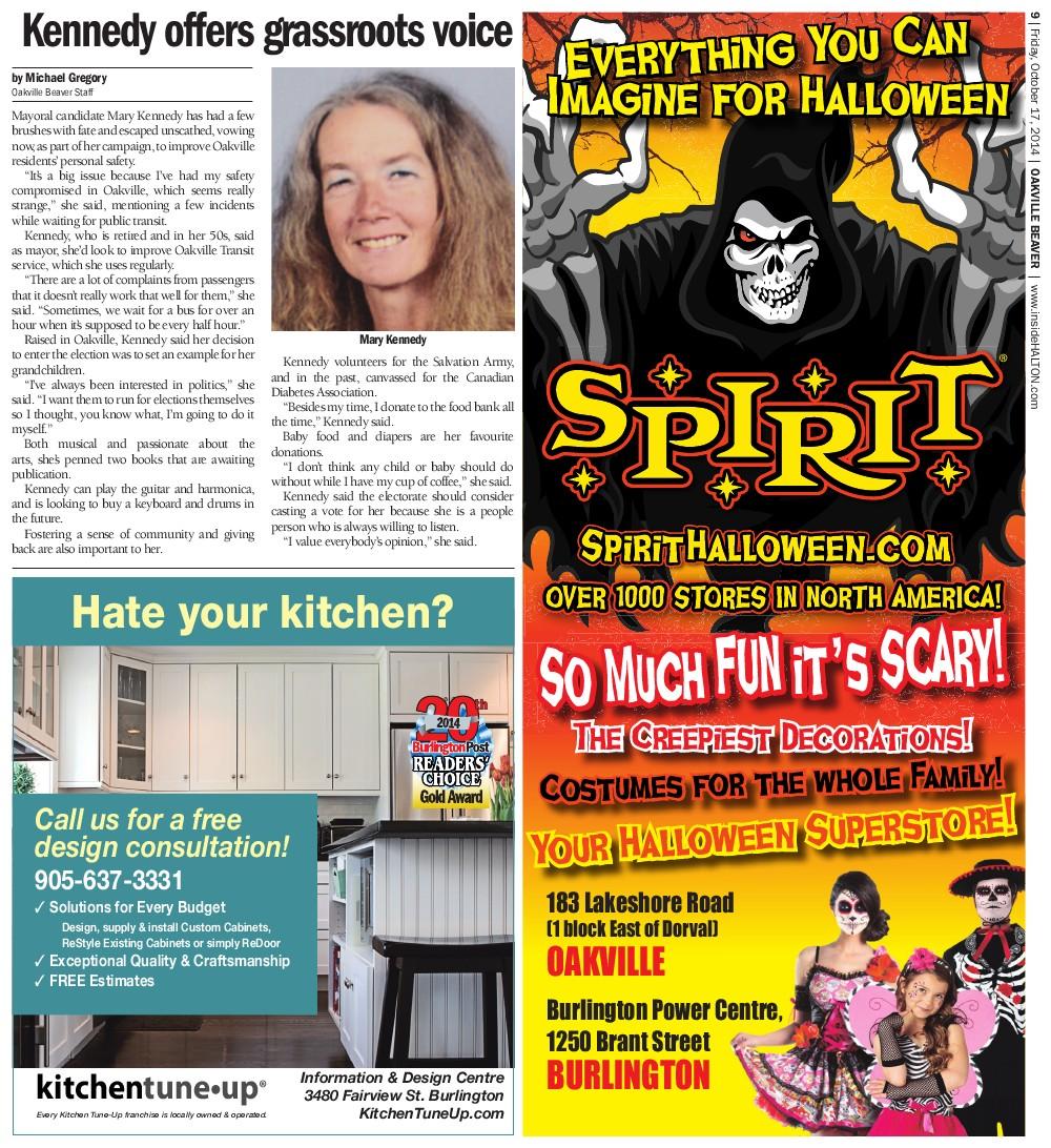 Oakville Beaver, 17 Oct 2014