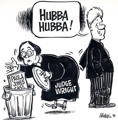 Steve Nease Editorial Cartoons: Bill Clinton and Judge Wright