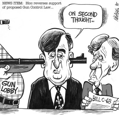 Steve Nease Editorial Cartoons: Bloc Reverses Support of Gun Control Law