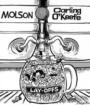 Steve Nease Editorial Cartoons: Molson Lay-offs