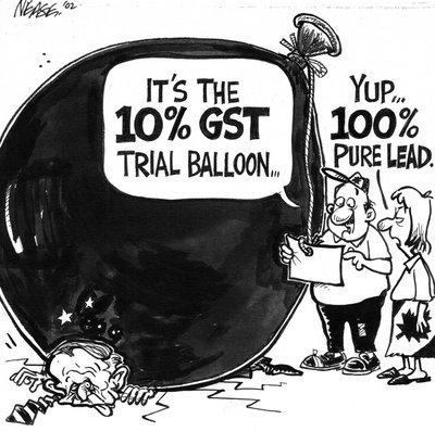 Steve Nease Editorial Cartoons:10% GST Trial Balloon
