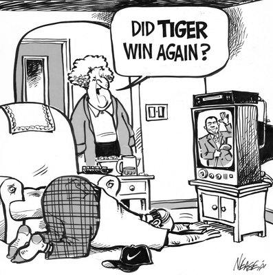 Steve Nease Editorial Cartoons: DId Tiger win again?