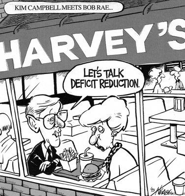 Steve Nease Editorial Cartoons: Kim Campbell Meets Bob Rae