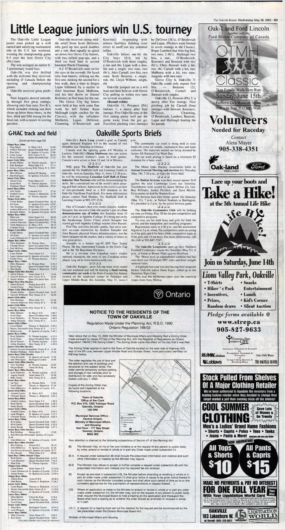 Oakville Beaver, 28 May 2003