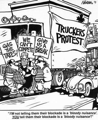 Steve Nease Editorial Cartoons: Truckers' Blockade
