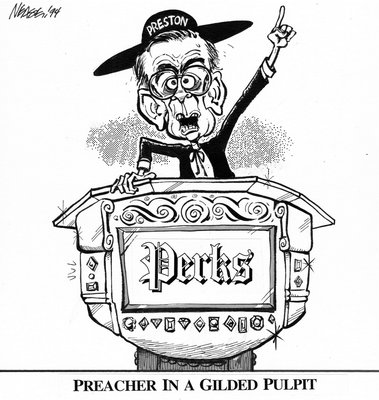 Steve Nease Editorial Cartoons: Preacher in a Gilded Pulpit