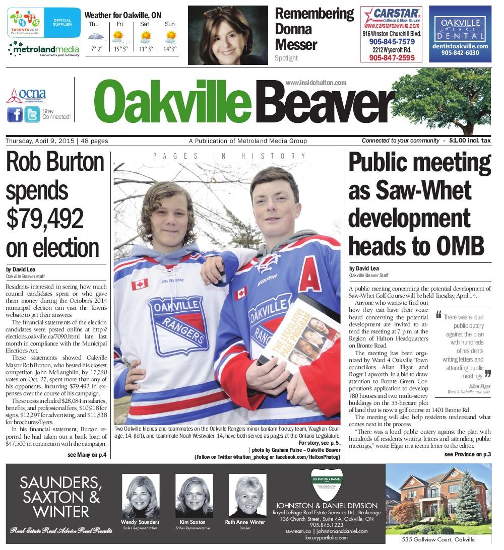 Oakville Beaver, 9 Apr 2015