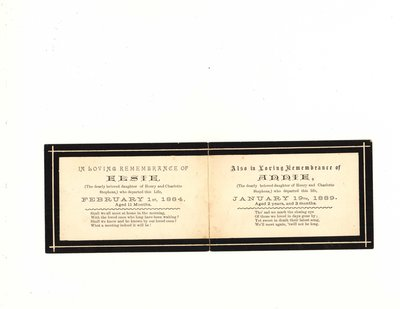 Funeral card for Elsie Stephens and Annie Stephens