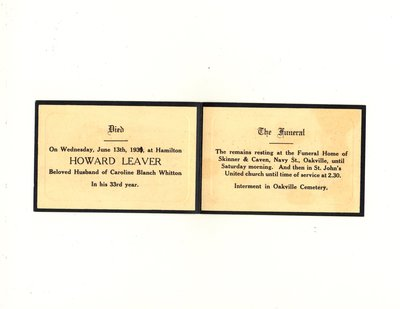 Funeral card for Howard Leaver