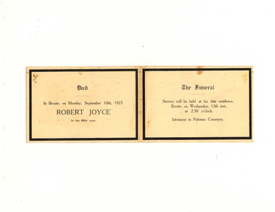 Funeral card for Robert Joyce