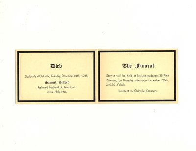 Funeral card for Samuel Leaver