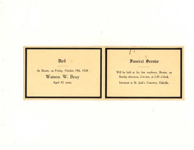Funeral card for Watson W. Bray