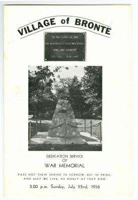 Village of Bronte: Dedication Service of War Memorial