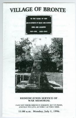 Village of Bronte: Rededication Service of War Memorial
